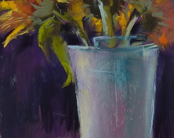 Sunflowers Still Life   8x10 Original Pastel Painting Karen Margulis