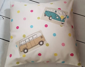 Campervan Cushion, Applique Cushion, Applique Pillow, Decorative Cushion, Decorative Pillow, Scatter Cushion, Retro Camper Van Cushion