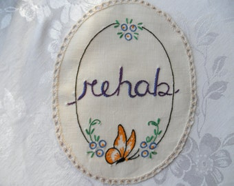 Rehab, Amy Winehouse, Mini Tapestry, Hand embroidered, Edgy art