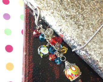 Crystal Beaded TN Journal Charm, Planner Charm, Beaded Key Chain, Traveler's Notebook Bling, Junk Journal Charm, Purse Dangle
