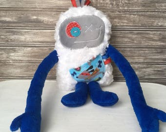 Choose: Hug Monster plush toy, dark blue and gray with super hero dog, friendly monster for boy, unique  birthday gift or easter present