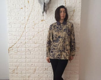 Vintage Coldwater Creek Oversize Button Up Collared Long Sleeve Branches Print Shirt