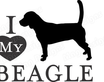 Pet Decal - BEAGLE Vinyl Dog Decal - Doggie Car Decal - Auto Pet Sticker -  Silhouette in your colors