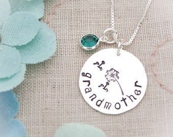 Sterling Silver Grandmother Mother Necklace Hand Stamped Jewelry