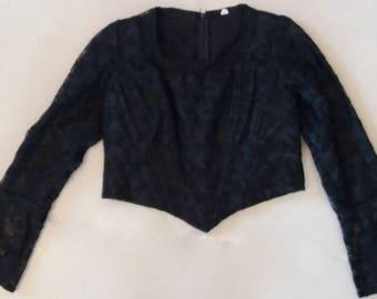 Vintage 90's, Eliza of California Corset Shirt, Black Corset Top, Corset Blouse