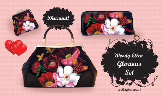 Retro handbag set, vintage handbag set, Glorious, christmas, gift, gift for her, Woody Ellen handbag, christmas gift ideas, valentine gift