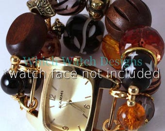 SALE Out of Africa.. Chunky Gold and Brown Beaded Watch Band, Interchangeable