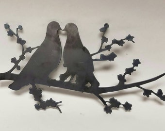 Love Is In The Air! Turtle Doves ---- Ah.... Kissin Metal Wall Hanging!