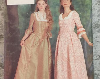 Butterick 6867 Colonial Dress Scarf Historical Costume Sewing Pattern Misses Size 18  20  22 Bust 40  42  44 Plus Size UNCUT