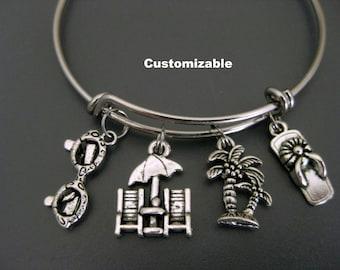 Beach Bracelet / Beach Bangle / Vacation Bangle / Caribbean Vacation Bracelet / Palm Tree  / Charm Bracelet / Adjustable Expandable Bracelet