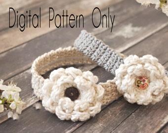 Crocheted Baby Headband Pattern, Headband Pattern, Crocheted Headband Pattern,  Crocheted Flower Headband Pattern