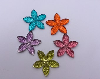 Flower Sparkles Magnets / Set of Five Flower Magnets / Fun Magnets / Colorful Magnets