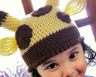 12 to 24m Giraffe Hat Jungle Safari Hat Baby Giraffe Beanie Crochet Jungle Animal Baby Hat Yellow Brown Baby Giraffe Hat