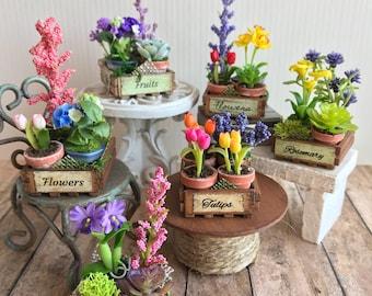 Crate of flowers, dollhouse garden, artisan miniatures