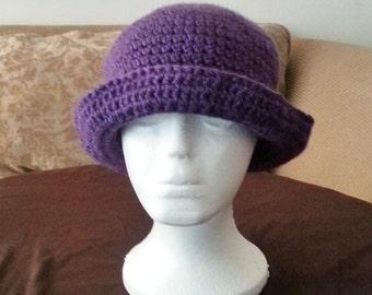Crochet Hat, Crochet Cloche Hat, Purple Crochet Hat With Brim, Women's Crochet Hat, Purple Crochet Bowler Hat