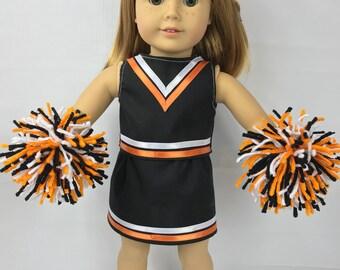 """Poupée tenue uniforme cheerleading, vêtements de poupée de 18"""", Orange noir blanc, costume de poupée, poupée de pompons, jupe de poupée"""