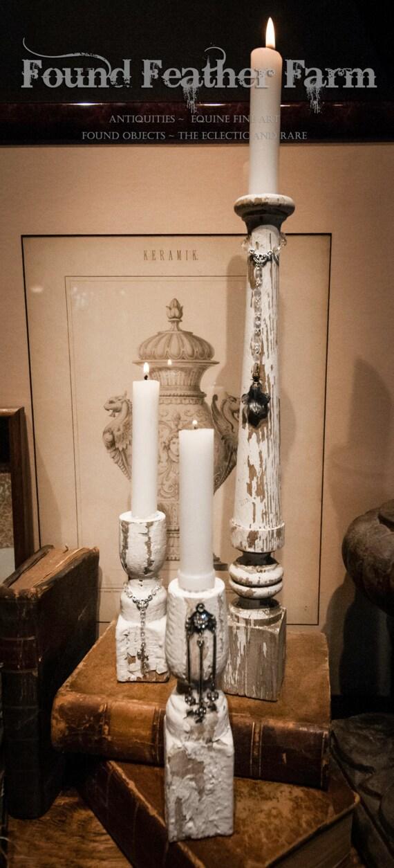 Set of Three Handmade Vintage Jeweled Balustrade Candle Holders