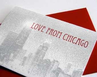 Letterpress greeting card - Love from Chicago - Skyline Boxed set of 6