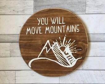 Mountain Round, Rustic Nursery, Nursery Sign, Boys Nursery, Rustic Sign