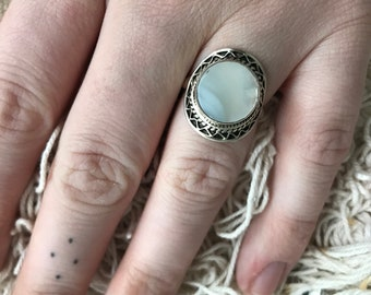 Sterling silver ring with pearl size 18