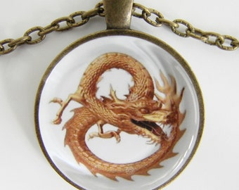 GOLDEN CHINESE DRAGON Necklace -- Symbol of Cosmic Chi, Energy, Path to enlightenment, Spiritual art
