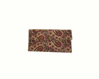 Vintage Boho Handmade Multicolor Paisley Fabric Clutch Purse, Pouch Bag, from 1970s, Magenta, Maroon, Green, Orange, Beige, Hippie Accessory