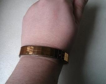 Vintage Collection - Discoteque Style Gold color Mirror  Bangle Bracelet