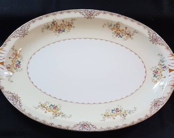 """Meito China, """"St Mary"""", 17"""" Oval Serving Platter, 2 handles, Made in Japan"""