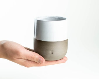 Minimalist cup for coffee, tea in grey and white//handmade cup with white glaze and grey tone//matte finish