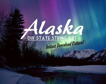 "Alaska - DIY State String Art Pattern - 8"" x 11"" - Hearts & Stars included"