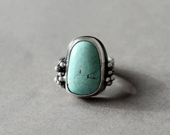 Sky Blue Turquoise Sterling Silver Wide Band, Statement Silver Ring, One of a kind, Cocktail Ring