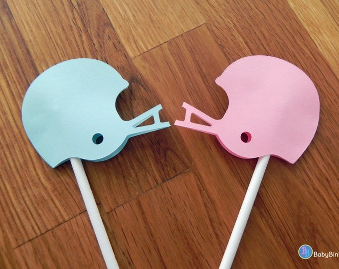 Cupcake Toppers: Gender Reveal Team Pink vs Team Blue Football Helmets - game baby shower die cut pink helmet blue boy helmet versus