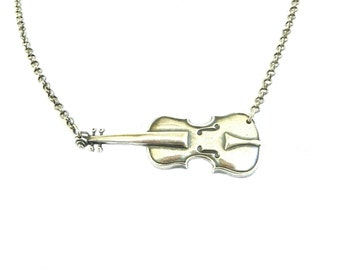 Steampunk Cello Necklace Sideways Cello Necklace Sterling Silver Ox Finish