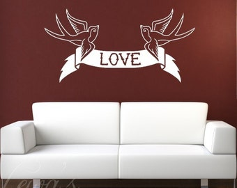 Swallows  Love Banner Wall Decal - Extra Large