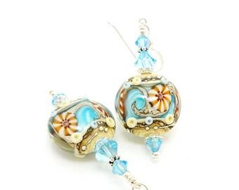 Seashell Earrings, Beach Earrings, Lampwork Earrings, Glass Earrings, Ocean Earrings, Blue Earrings, Beach Jewelry, Beach Wedding
