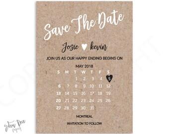 Calendar Save The Date Wedding Announcement Custom Save The Date Wedding Postcard Save The Date Save The Date Printable Wedding Printable
