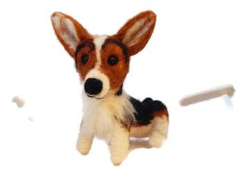 Custom Corgi Sculpture - needle felted origonal puppy soft sculpture -  small size - Pembroke Welsh Corgie art