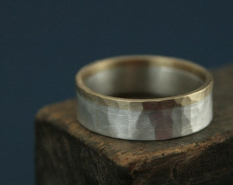 Two Tone Wedding Band Rustic Wedding Band 6.5mm Wide Band Gold & Silver Ring Two Tone Ring Hammered Ring Men's Two Tone Wedding Ring