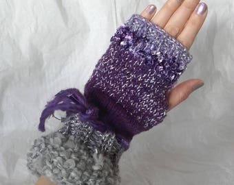 Purple - gray fingerless glove