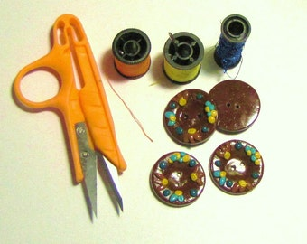 Buttons, Set of 4 Large, Hand Painted