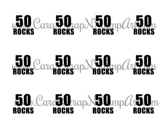 50th Birthday Printable Cupcake Toppers - 50 ROCKS