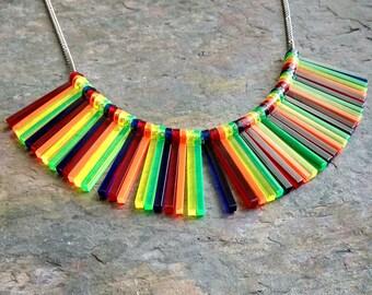 Rainbow stripe statement necklace - laser cut acrylic necklace