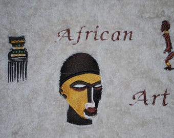 Bath towel African Art and mask