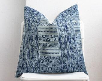 Hmong Batik Block Print Indigo Pillow Cover