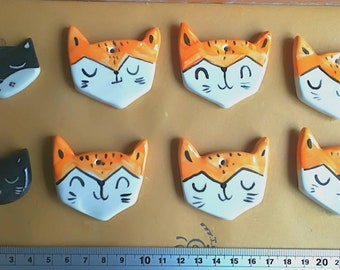 8 Ceramic Pendants 6 foxes and 2 cats