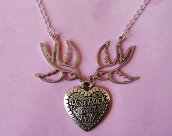 ♥ Silver swallow necklace and heart You Rock and Roll ♥