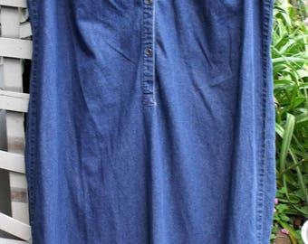 Vintage Denim Dress/ Liz Claiborne 16W/ Denim Chic/ Denim Thrift/ Farmhouse Chic/ Eco-Thrift Denim/ Shabbyfab Funwear