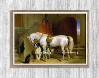 "Office Art, Living Room Art, Horse and Dogs Art Print, ""The Stable"" Art Print Home Decor  #613"