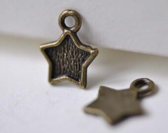 50 pcs Antique Bronze Bezel Star Charms 9.5x11.5mm A7861