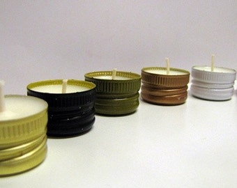 Mixology - Recycled B-Lights Soy Candles 6 Pack Unscented Tea Lights, Upcycled Wine, Liquor Bottle Caps, Organic, Vegan